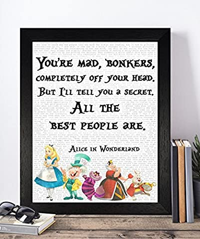 Vintage Alice in Wonderland Disney Quotes Unframed Print Poster Christmas Xmas Birthday Gifts For Him Her Women Home Decor Wall Art For Bedroom Living Room Hallway