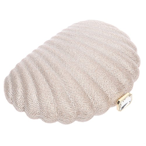 Bonjanvye Shell Shape Clutches for Wedding and Party Bag for Girls Rose Champagne
