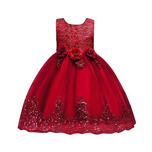 Livoral Mädchen Hochzeitskleid Partykleid Blumenbaby-Prinzessin Bridesmaid Beauty Dress Geburtstagsfeier-Hochzeits-Kleid(Rot,120) (Red Tutu M&m Teen Kostüm)