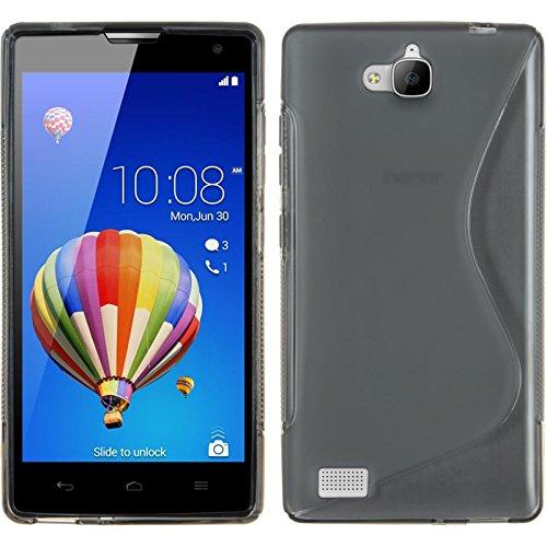 PhoneNatic Case kompatibel mit Huawei Honor 3C - grau Silikon Hülle S-Style + 2 Schutzfolien