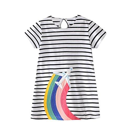 Oyedens Mädchen Frühling Sommer Baumwolle Kurzarm Regenbogen Mustern T-shirt Kleid (100, Weiß) (Streifen Shirt Kleid Lila)