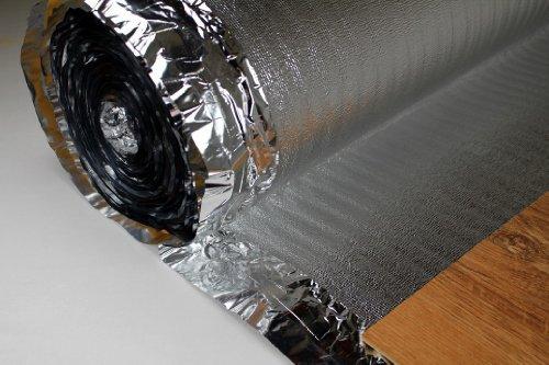 100 m2 Trittschalldämmung mit Dampfsperre für Laminat Parkett, SILVER PLUS 2 mm