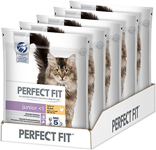 Perfect Fit Katzen-/Trockenfutter Junior für junge Katzen Junior Reich an Huhn, 5 Beutel (5 x 750 g)