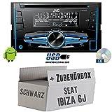 Seat Ibiza 6J 2DIN Schwarz - JVC KW-R520E - 2DIN Autoradio Radio - Einbauset