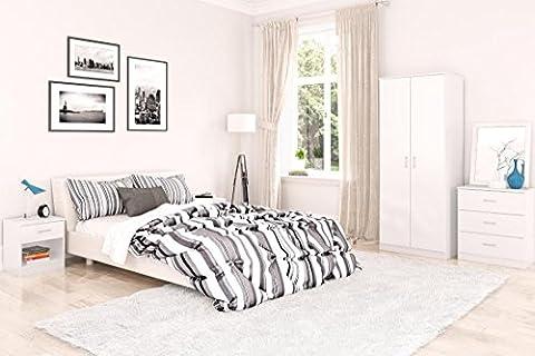 Hampton Birlea Gloss Bedroom Furniture 3 Piece Trio Set Wardrobe, Chest & Bedside (White)