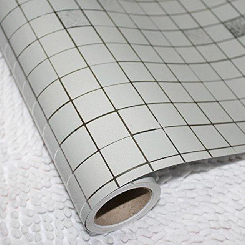 *yazi Selbstklebende Tapete Mosaik-Design Küche Schrank Fenster PVC Silber 0.45x5m*