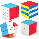 HJXDtech- MoFangGe Stickerless mágica del cubo 2x2x2 del cubo 3x3x3 4x4x4 Racing velocidad 5x5x5 (4 juego pack)