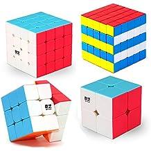 HJXDtech- MoFangGe Stickerless mágica del cubo 2x2x2 del cubo 3x3x3 4x4x4 Racing velocidad 5x5x5 (4 juego pack)