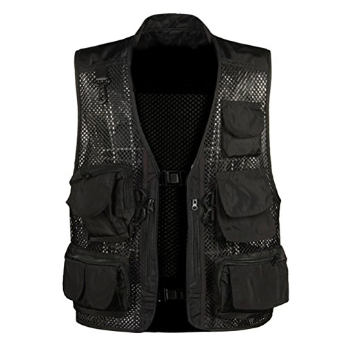 Zhhlinyuan pratique Outdoor Summer Hollow Out Thin Multi-pocketed Vest Multifunction Mesh Black