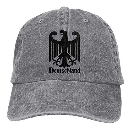 Hoswee Unisex Kappe/Baseballkappe, Deutschland German Denim Baseball Cap Adjustable Strap Low Profile Plain Hats Outdoor Casquette Snapback Hats Ash