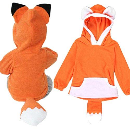 Culater® Bambino Bambino Ragazza Cartoon Design Fox Incappucciati Vestiti (12M, Arancia)