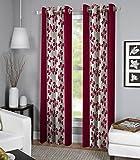 Exporthub Maroon Color Fancy Designer 2 Piece Eyelet Window Curtains - 4 x 5 Feet, (EHSPR551_54)