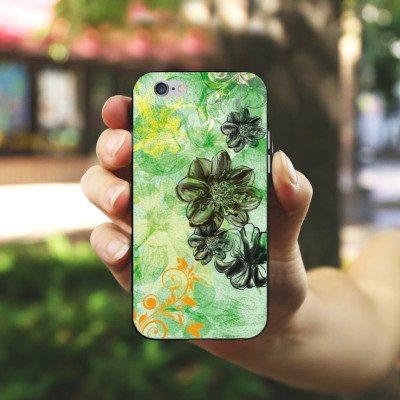 Apple iPhone X Silikon Hülle Case Schutzhülle Blumen Ornamente Blüten Silikon Case schwarz / weiß