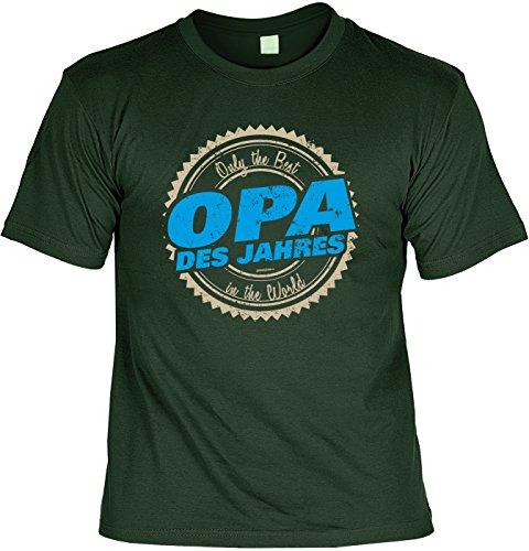 T-Shirt - Opa des Jahres - Best in the World - cooles Shirt mit lustigem Spruch als Geschenk zum Vatertag Dunkelgrün
