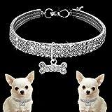 SINOTECHQIN 1 Stück Strass Pet Halsbänder Hund Katze Halsketten Einstellbare Strass Heimtierbedarf Haustier Zubehör Size S (White)