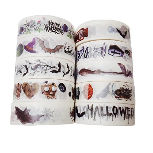 0m Halloween Themed Dekorative Washi Tape Set von 10 (Aller Heiligen Tag Kostüme)