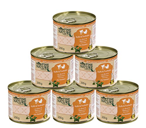 Dehner Fine Nature Katzenfutter Adult, Lebensmittelqualität, Kalb und Truthahn, 6 x 200 g (1200 g)
