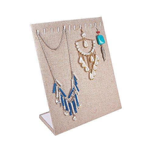 Pandahall elite 1pc organizer display espositore per gioielli collane bracciali orecchini, burlywood, 25x20x8.2cm