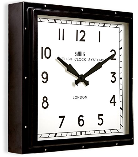 Smiths Square Clock, Metal Black