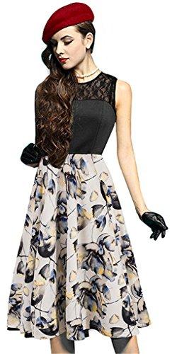 Eudolah Damen Kleid Sommerkleid Elegant Spitzenkleid Cocktailkleid Knielanges Vintage 50er Jahr Gelb Blumen