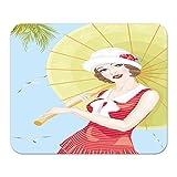 Mauspad Wand Küche Frau Sonnenschirm Bedruckt