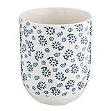 Clayre & Eef 6CEMU0022 Becher Tasse ohne Henkel Blumen blau ca. Ø 6 x 8 cm