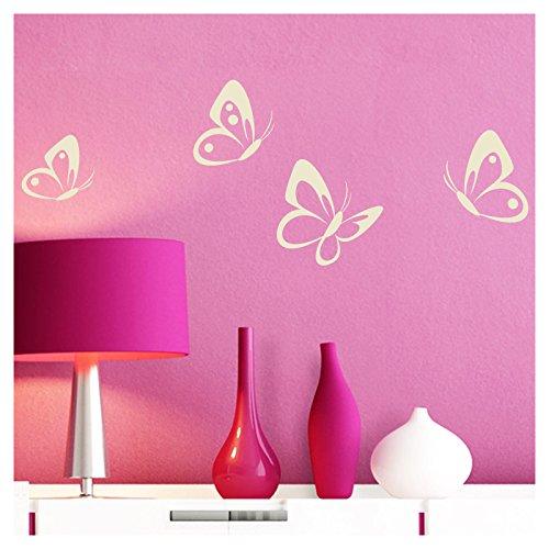 Grandora Wandtattoo 4er Set Schmetterlinge I cremeweiß 8-10 cm I Baby Kinderzimmer selbstklebend Wand Aufkleber Wandaufkleber Wandsticker Sticker W697