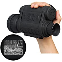 Boblov Bestguarder WG-50 de infrarrojos de visión nocturna 720P HD IR telescopio monocular pantalla de 1.5 '' LCD en color DVR 6x50 zoom Registro (Monocular)