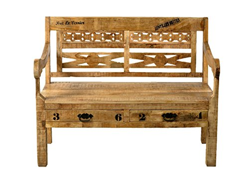 SIT-Möbel Rustic 1920-04 Bank mit 2 Schubladen, 2 Sitzplätze, aus Mangoholz, Antik, braun,...