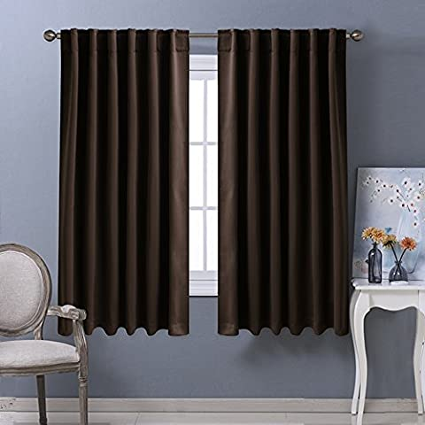 ponydance-posteriore Tab/Rod tasca Solid Blackout Curtain Drape, Poliestere, Toffee Brown,