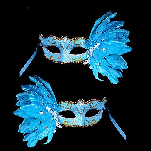 BLEVET 2PCS Masque Venitien Plume Danse Fête Décoration pour Halloween Spectacle Party Carnaval MZ002 (Blue)
