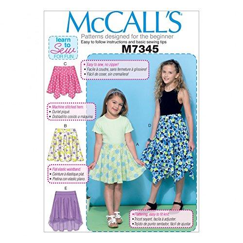 McCall 's Mädchen Easy Learn To Sew Schnittmuster 7345, glatt, Taschentuch & High Low Saum Röcke -