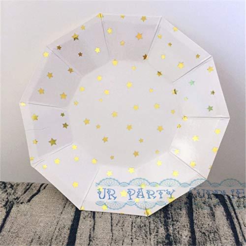 (24 Stücke Folie Gold Scallop Papier Platten Kleine 7 Zoll / 18 Cm Party Geschirr Korallen Rosa Blau Mint Folie Gold/Silber Party Platten, Gold Star)