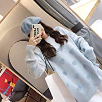 IJL Camisa suéter Rosa Inferior Femenina sección Larga otoño e Invierno Ropa de esquí esquí Jersey Grueso Amor Flojo Azul XL
