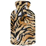 Hot Water Bottle With Faux Fur Tiger Animal Print Cover