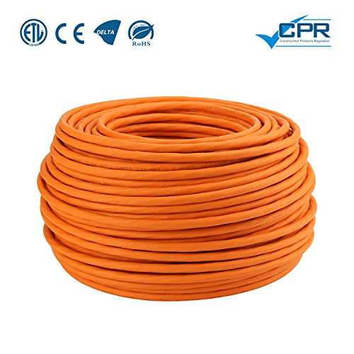LW Electronic Highquality Verlegekabel Gigabit Netzwerkkabel S/FTP PIMF 1000 MHz Cat7 4x2xAWG23 LSZH Verkabelung LAN Kabel Datenkabel CAT7 Orange Cat7 100m