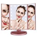 Cocoarm LED Kosmetikspiegel Schminkspiegel Vergrößerungsspiegel Makeup Spiegel Standspiegel Tischspiegel 1/2/3/10 Lupe Faltbare 180 Grad Drehbare Dimmbar USB Lade Batteriebetriebene (Rosegold)