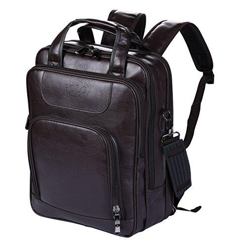 VIDENG POLO Laptop Rucksack Leder Geschäft Reise Schule Taschenzum 13 15 17 Zoll (Braun-V1) (Tragen Leder Cole Kenneth)