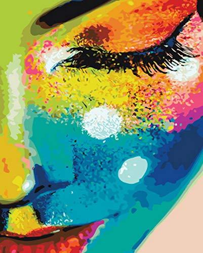 WLKJ Boutique Rahmenlose malen nach Zahlen malen nach Zahlen für wohnkultur für Wohnzimmer 40x50 cm buntes Gesicht (Wolf Gesicht Malen)