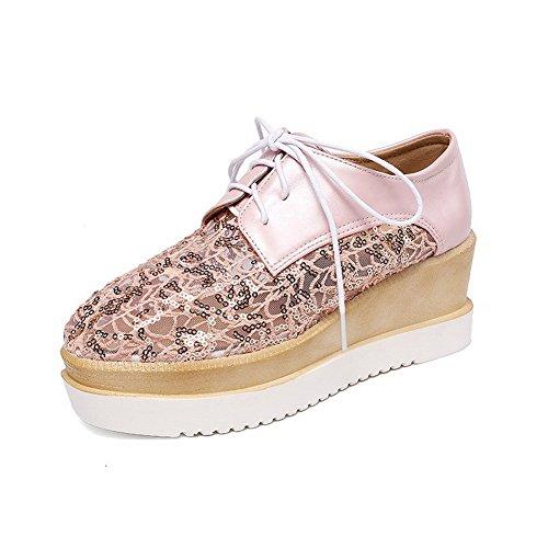 AllhqFashion Damen Quadratisch Schließen Zehe Mittler Absatz Schnüren Rein Pumps Schuhe Pink