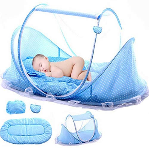 LVPY Babybett Moskitonetz, Portable faltbett Pop Up Sommer Travel Krippe mit Moskitonetz Babybetten Neugeboren Kinderbett für 0-3 Jahre - Blau (Moskitonetz Babybett)