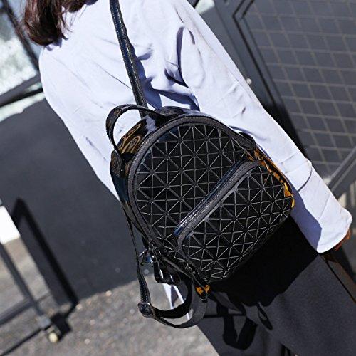 Mode Rucksack Damen Freizeit Geometrie Lingge Kleine Taschen Multicolor Black