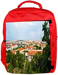 baed60b08166 Snoogg Eco Friendly Canvas Red Roof Houses Designer Backpack Rucksack  School Travel Unisex Casual Canvas Bag