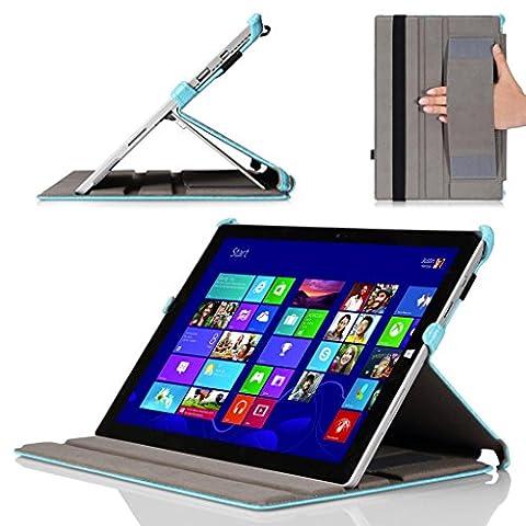 MoKo Etui Microsoft Surface Pro 3 - Etui fin avec support multi-angles pour Tablette Microsoft Surface Pro 3 de 12 Pouces, Carbon Fiber BLEU CLAIR