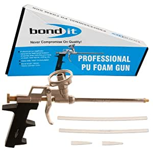 Bond-It Professional PU Foam Gun - A high quality robust gun made entirely of metal allows polyurethene expanding foam to be applied in small gaps and with ease for use with gun grade foam filler
