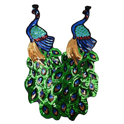 Peacock-stoff-handtaschen (Pailletten Black Swan bestickt Sew Iron on Patches Badge DIY Craft Patch für Kleidung Decor, 2Stück, pfau, Einheitsgröße)