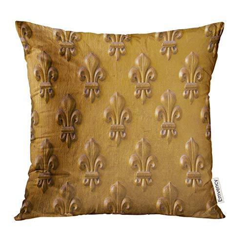 jiilwkie Throw Pillow Cover Lis Fleur De LYS on The Doors of Napoleon's Tomb in Paris Gold Craftsmanship Decorative Pillow Case Home Decor Square 18x18 Inches Pillowcase Fleur De Lis Lys