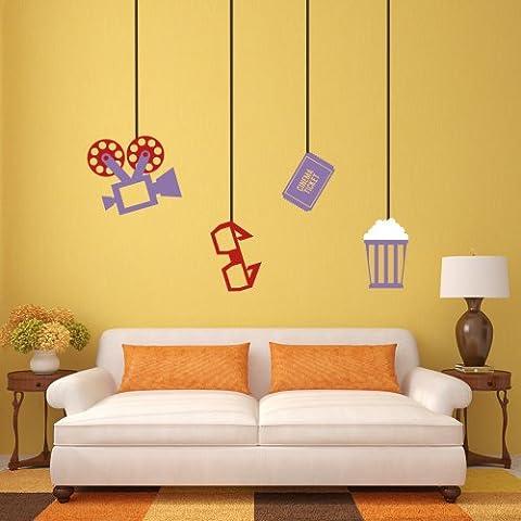 Cine Cine en casa pared vinilo adhesivo para el proyector de cine tema pared pared adhesivo adhesivo para pared casa arte decoración, vinilo, Custom,