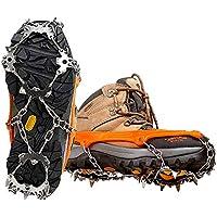 18 Dientes Crampones, Crampon de Acero Inoxidable Zapatos Antideslizantes Funda para Caminar Senderismo Camping Montañismo Escalada - Naranja (L)