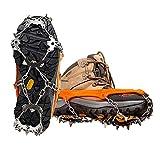 18 Dientes Crampones, Crampon de Acero Inoxidable Zapatos Antideslizantes Funda para Caminar Senderismo Camping Montañismo Escalada - Naranja (XL)